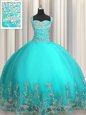 Customized Sweetheart Sleeveless Quinceanera Dresses Floor Length Beading and Appliques Aqua Blue Organza