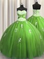 Perfect Big Puffy Ball Gowns Beading Sweet 16 Dress Lace Up Tulle Sleeveless Floor Length