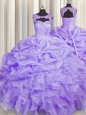 Handcrafted Flower Floor Length Hot Pink Quince Ball Gowns Organza Sleeveless Beading and Ruffles
