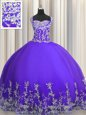 Stunning Sleeveless Lace Up Floor Length Beading and Appliques Vestidos de Quinceanera