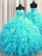 Aqua Blue Sleeveless Beading and Ruffles Lace Up Sweet 16 Quinceanera Dress