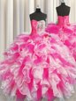 Elegant Sleeveless Organza Floor Length Lace Up Sweet 16 Quinceanera Dress in for with Beading and Ruffles