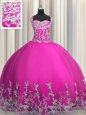 Floor Length Lace Up 15 Quinceanera Dress Fuchsia and In for Military Ball and Sweet 16 and Quinceanera with Beading and Appliques