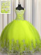 Attractive Floor Length Yellow Green Quinceanera Gown Straps Sleeveless Lace Up