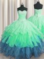 Sleeveless Organza Floor Length Lace Up Quinceanera Gown in Multi-color for with Beading and Ruffles and Ruffled Layers and Sequins