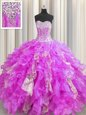 Visible Boning Organza and Sequined Sleeveless Floor Length Quince Ball Gowns and Beading and Ruffles and Sequins