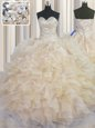 Luxury Champagne 15th Birthday Dress Military Ball and Sweet 16 and Quinceanera and For with Beading and Ruffles Sweetheart Sleeveless Lace Up