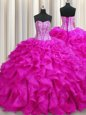 Elegant Handcrafted Flower Sweetheart Sleeveless Lace Up Sweet 16 Quinceanera Dress Purple Organza