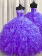 Fitting Sleeveless Organza Brush Train Lace Up Quinceanera Dress in Purple for with Beading and Ruffles