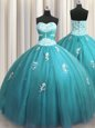 Dramatic Halter Top Floor Length Lace Up Sweet 16 Dresses Teal and In for Military Ball and Sweet 16 and Quinceanera with Beading and Appliques