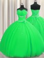 Glittering Handcrafted Flower Floor Length Green Quinceanera Dresses Strapless Sleeveless Lace Up