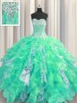 Fabulous Sweetheart Sleeveless Sweet 16 Dresses Floor Length Beading and Ruffles and Sequins Turquoise Organza and Sequined