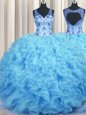 V Neck Organza Sleeveless Floor Length Ball Gown Prom Dress and Beading and Appliques and Ruffles