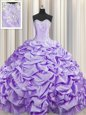 Brush Train Lavender Ball Gowns Sweetheart Sleeveless Taffeta With Train Sweep Train Lace Up Beading and Pick Ups Sweet 16 Dress