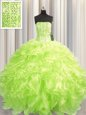 Spectacular Visible Boning Yellow Green Ball Gowns Beading and Ruffles Quinceanera Gown Lace Up Organza Sleeveless Floor Length