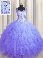Amazing See Through Zipper Up Sleeveless Tulle Floor Length Zipper Quinceanera Dresses in Lavender for with Beading and Ruffles