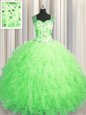 Colorful See Through Zipper Up Ball Gowns Sweet 16 Dress Straps Tulle Sleeveless Floor Length Zipper