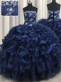 Pick Ups Floor Length Navy Blue Ball Gown Prom Dress Strapless Sleeveless Lace Up