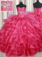Floor Length Coral Red Quinceanera Gown Organza Sleeveless Ruffled Layers
