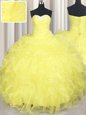 Shining Ball Gowns Sweet 16 Dress Yellow Sweetheart Organza Sleeveless Floor Length Lace Up