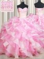 Customized Sleeveless Floor Length Beading and Ruffles Lace Up Sweet 16 Quinceanera Dress with Pink And White