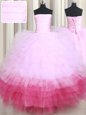 Sleeveless Tulle Floor Length Lace Up Sweet 16 Quinceanera Dress in Multi-color for with Ruffled Layers