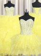 Sexy Three Piece Yellow Sweetheart Lace Up Beading and Ruffles Sweet 16 Quinceanera Dress Sleeveless