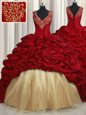 Red Ball Gowns Beading and Appliques and Pick Ups Ball Gown Prom Dress Lace Up Taffeta Sleeveless