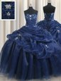 Low Price Navy Blue Sweetheart Neckline Appliques and Pick Ups Quinceanera Gowns Sleeveless Lace Up