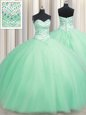 High End Apple Green Tulle Lace Up Sweetheart Sleeveless Floor Length Vestidos de Quinceanera Beading