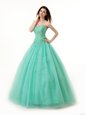 Noble Turquoise A-line Chiffon Sweetheart Sleeveless Beading and Ruching Floor Length Lace Up Sweet 16 Quinceanera Dress