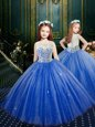 Blue Flower Girl Dresses Party and Wedding Party and For with Appliques Scoop Sleeveless Clasp Handle
