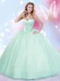 Free and Easy Sleeveless Tulle Floor Length Lace Up 15th Birthday Dress in Apple Green for with Beading