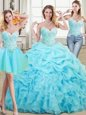 Free and Easy Three Piece Organza Sweetheart Sleeveless Lace Up Beading and Ruffles and Pick Ups Sweet 16 Quinceanera Dress in Aqua Blue