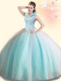 Dazzling Aqua Blue Backless Quinceanera Gowns Beading Sleeveless Floor Length