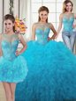 Three Piece Baby Blue Ball Gowns Tulle Scoop Sleeveless Beading and Ruffles Floor Length Lace Up Ball Gown Prom Dress