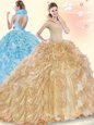Gorgeous Sleeveless Brush Train Beading and Ruffles Backless Quinceanera Gown