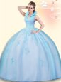 Sleeveless Floor Length Beading and Appliques Backless Quinceanera Gowns with Baby Blue