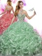 Exquisite Scoop Tulle Sleeveless Sweet 16 Dresses Brush Train and Beading