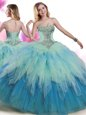 High Quality Tulle Sleeveless Floor Length Quinceanera Gown and Beading and Ruffles