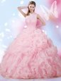 Baby Pink Sleeveless Beading and Ruffles and Pick Ups Floor Length Sweet 16 Dresses