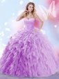 Sumptuous Lavender Sleeveless Tulle Brush Train Lace Up Sweet 16 Quinceanera Dress for Military Ball and Sweet 16 and Quinceanera