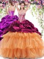 Enchanting Organza and Taffeta Sweetheart Sleeveless Brush Train Lace Up Beading and Ruffled Layers and Pick Ups Vestidos de Quinceanera in Multi-color