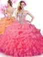 Fabulous Blue Sweetheart Neckline Beading and Ruffles Quince Ball Gowns Sleeveless Lace Up
