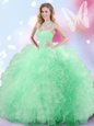 Scoop Peach Tulle Lace Up Sweet 16 Quinceanera Dress Sleeveless Brush Train Beading