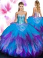 Captivating Floor Length Backless Quinceanera Dresses Lavender and In for Military Ball and Sweet 16 and Quinceanera with Beading and Ruffles