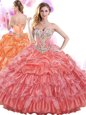 Organza Sleeveless With Train Quince Ball Gowns Brush Train and Beading and Ruffles and Pick Ups