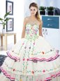Eye-catching Scoop White Sleeveless Beading and Embroidery and Ruffled Layers Floor Length 15 Quinceanera Dress
