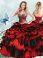 Organza Sweetheart Sleeveless Lace Up Beading and Ruffled Layers and Sequins Quinceanera Gowns in Red And Black