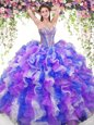 Decent Sleeveless Floor Length Beading and Ruffles Lace Up Quinceanera Dresses with Multi-color